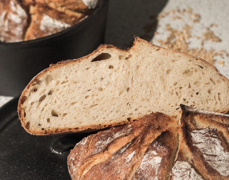 Topf-Brot / No-Knead-Bread: Weizen-Dinkel-Johurt-Brot